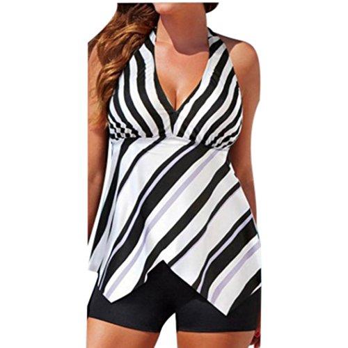 Bademode Dasongff Damen Zweiteilig Tankini Sets Bauchweg Badeanzug Sportlich Beachwear mit Bikinislip Standkleid Streifen Bademode (L, Weiß)