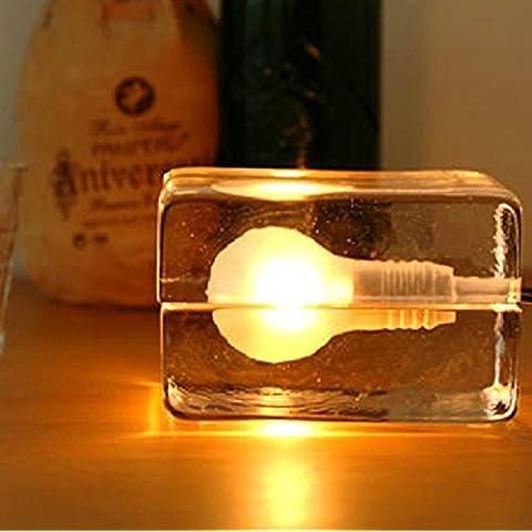 XIAOMINZI 12cm*8cm*8cm(5*3*3inch) 220V cavo di Nordic Vintage industriale Creative Ice Cube personalità vetro ciondolo calata lampada Led 1 luce con potenza regolabile per camera da letto sala da pranzo Cafe