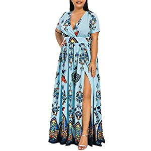 erthome Fashion Lady Bohemian Butterfly Print V-Ausschnitt Kurzarm Beach Party Kleid