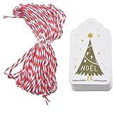 Souarts 50PCS Papier Kraft Étiquette Cadeaux Balise Gift Tags Motif Sapin de Noël