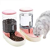 UniqueFit Pets Cats Dogs Automatic Waterer and Food Feeder 3.8 L with 1* Water Dispenser and 1 * Pet Automatic Feeder (Pink)