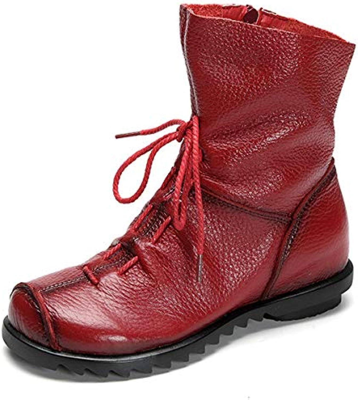 Gaslinyuan Femme Bottes Chaussures Plates en Cuir Vintage Chaussures Bottes Hautes pour Automne Hiver (coloré : Rouge, Taille :...B07GRTSLX5Parent ade94c