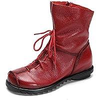 Gaslinyuan Femme Bottes Plates en Cuir Vintage Chaussures Hautes pour  Automne Hiver (coloré   Rouge 6acc85a5d7d5