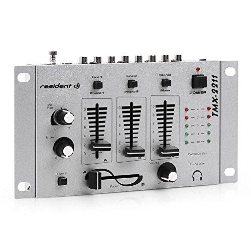 resident dj TMX-2211 • DJ-Mixer • 3/2-Kanal Mischpult • DJ-Mischpult • Mikrofon-Eingang • Kopfhörer-Ausgang • 2 x Phone-Line-In • 1 x Cinch-Line-In • 1 x Cinch-Line-Out • Talkover-Funktion • geeignet zum Rackeinbau • 12 Volt-Betrieb möglich • silber