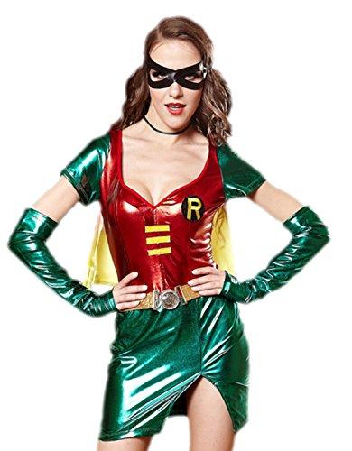 Kostüme Robin Damen Tshirt (erdbeerloft - Damen Kurzes Robin Kostüm mit Handschuhen und Maske, L,)