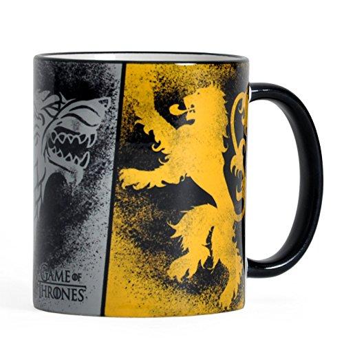 Elbenwald Game of Thrones Keramik-Tasse mit Rundum-Druck Häuserwappen Stark Lannister und Targaryen 320 ml