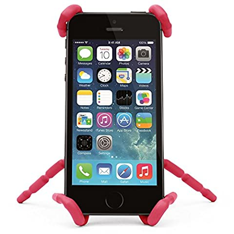 Bendable Spider Phone Holder - Universal Flexible and Fully Adjustable Grip Mount Dock Stand Cradle for any Car or Bicycle. Will fit iPhone 6 7 plus 5 5c 5s 4 4s Samsung S7 S6 S5 S4 Nokia LG HTC Sony & Any Other Mobile Phone / Vent / GPS / Red By K.O.W