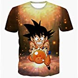PIZZ ANNU Dragon Ball Series Camiseta Hombre 3D Dragon Ball impresión Simple Creativo Manga Corta Camiseta 85% poliéster 15% Spandex Verano Ropa de Manga Corta(DK058 M)