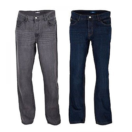 ZEARO Herren Straight Leg Jeans Jeanshose Comfort Fit in blau oder grau DE 48-54 Grau