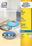 Avery Zweckform J8676-100 CD-Etiketten (A4, 200 Stück, schnell trocknend,  117 mm) 100 Blatt weiß