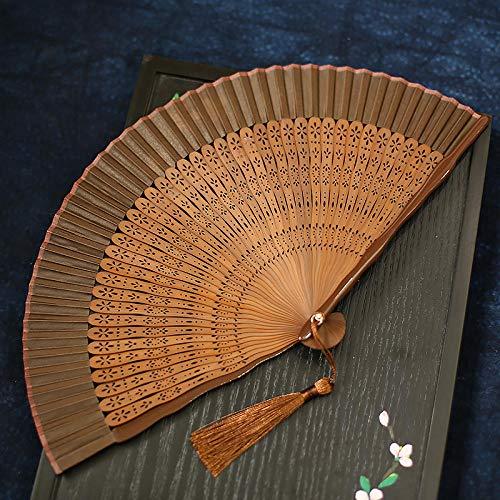 Kaffee Kostüm Verwandte - plzxy Chinesischen Stil voller Bambus Fan Carving Hohlfächer Alten Stil Damen Faltfächer Handwerk Fan Geschenk Fan@Schneemuster Fan - Kaffee