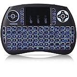 REFURBISHHOUSE Mini Tastiera Wireless QWERTY 2.4GHz Portatile con touchpad e retroilluminazione per PC/Smart TV/TV Box Android