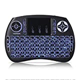 WOVELOT Mini Teclado inalambrico QWERTY de 2,4 GHz portatil con Panel tactil y luz de Fondo para PC/Smart TV/Android TV Box