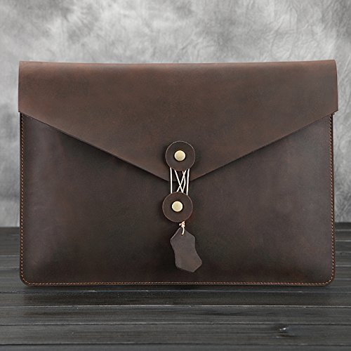 11.6 '' Zoll iPad Hülse, elecfan Weinlese PU Leder Umschlag Clutch Bag Sleeve Case für MacBook Air / iPad Tablet-Dunkelbraun