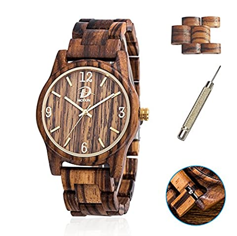 Wooden Watches for Men & Women + 2 watch links, Natural Solid Zebra Wood Wristwatch Case & Bracelet with Japan Analog Display Movement (Zebra Wood)