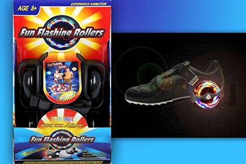 Funrollers Rollen für die Schuhe - größenverstellbar bis 80 kg Tragkraft Schwarz mit Leuchten / Licht