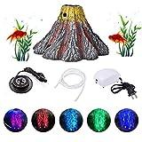 happygirr Bomba de oxígeno de Piedra de Burbuja de Forma de volcán de Acuario Iluminación LED Luz de Acuario Peces Decoración de Acuario 4X 2.8in Impermeable IP68