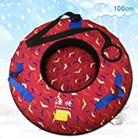 ZHAOK Trineo Hinchable de Nieve 100CM Tubo de Esquí Inflable con Manijas Snow Tube Juguetes de Nieve Invierno para Niños y Adultos,e
