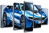 Wandbild - Bild Sportwagen, BMW i8, blau, 165x 62cm, Holzdruck - XXL Format - Kunstdruck, 26551