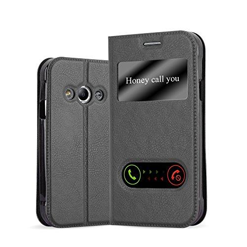 Cadorabo Hülle für Samsung Galaxy XCOVER 3 - Hülle in KOMETEN SCHWARZ - Handyhülle im Standfunktion und 2 Fenstern (View Design) - Case Cover Schutzhülle Etui Tasche Book Klapp Style