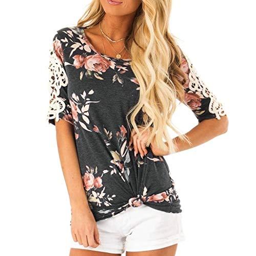 Floral Print Tee (Fuibo Damen T-Shirt Kurzarm Blumen Print Lace Tee Casual Floral T-Shirt Tops Bluse Damen T-Shirt Top Sommer Basic Shirts Tee Freizeit Oberteile (L, Schwarz))