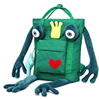 Qiulv Frog Backpack Unisex Cute Cartoon Creative Green Frog School Tote Canvas Bag Portable Shoulder