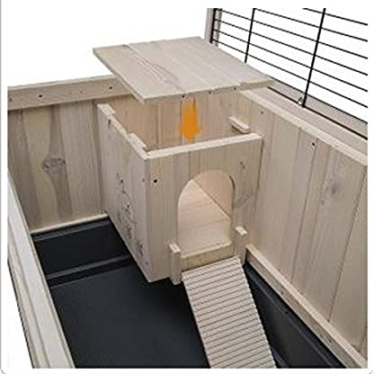 Elegant Indoor Wooden Hutch With Two Levels - Suitable For Small Rabbit Breeds And Guineapigs, With A Chic Design And… 4