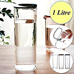 Clear Bottle (Set of 2 Pieces) (Capacity : 1000ml/1 Liter, Material: Acrylic, Dimension: Width 8.8 - Depth 8.8 - Height 24 cm, Colour : Assorted).