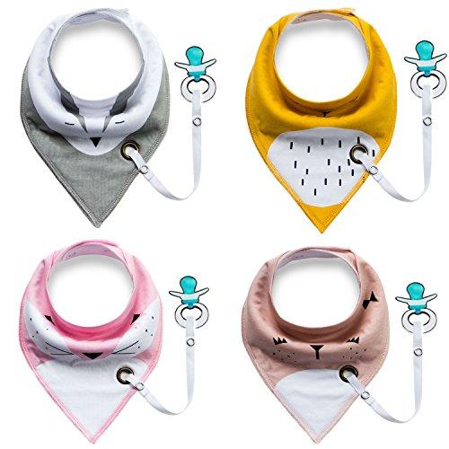 Baby Lätzchen Kleinkinder Halstücher Dreieckstücher Babytücher mit Schnullerkette für Mädchen oder Junge -Farbe1-4 Stück (Schnuller ist nicht enthalten) (Wolle Anzug Stoff)
