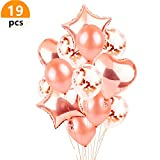 JeVenis 10 Pieces Rose Gold Confetti Balloon Set Including 12