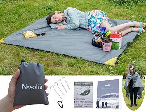 Pocket Decke,Reisen Decke,wasserdicht Outdoor Decke,Picknick Decke, Regenmantel Funktion,ultra Wasserdicht & leicht, mit Karabiner,für Wandern,Camping,Picknick