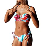 iYmitz Damen Push Up Bademode Beachwear Patchwork Gedruckt Bikini One Shoulder Tankini(Grün,EU-36/CN-M)