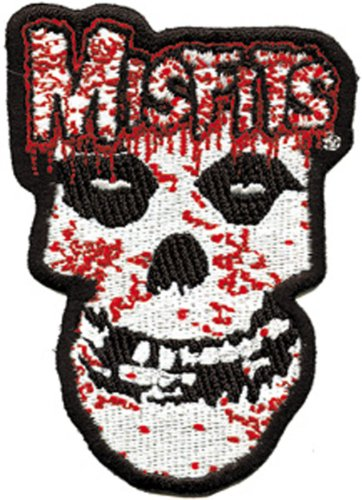 MISFITS Application applicazione Bloody sanguinoso Skulls Patch toppa, Officially Licensed Products Classic Rock Artwork, Iron-On / Sew-On, Embroidered ricamato PATCH