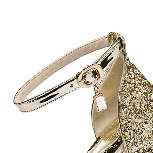 AIYOUMEI Offene Sandalen Damen mit Absatz Knöchelriemchen Sandaletten Glitzer Absatzschuhe Gold