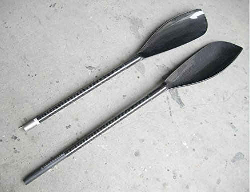 ZJ SPORT Hochleistungs-leichte Kohlefaser-Kajak Paddel Flügel Klinge mit Gamma-Klinge und Aluminiumzwinge in 10 cm Länge erstrecken
