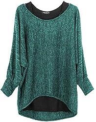 Emma & Giovanni - Damen Oversize Oberteile Tshirt/Pullover (2 Stück) / Made In Italy, XL-XXL,  Grün