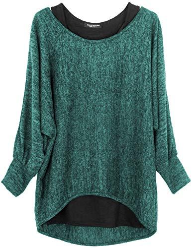 Emma & Giovanni - Damen Oversize Oberteile Tshirt/Pullover (2 Stück) (S/M, Grün)