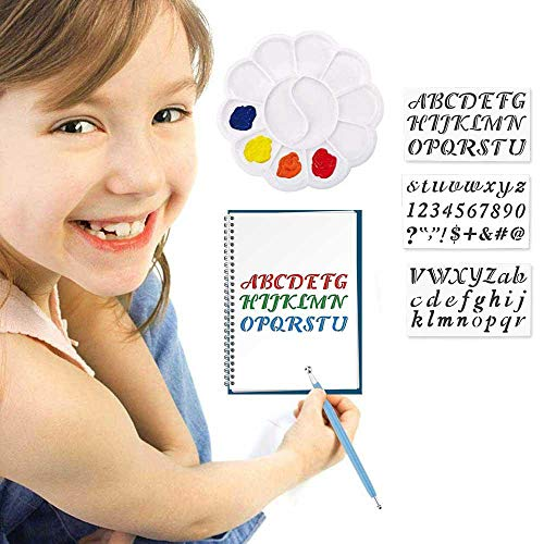 bare Vorlagen, Mandala Vorlagen für Kinder zur Entwicklung von Intelligenz, 26 Buchstaben Lernen, Malen auf Holz, Airbrush, Fels- & Wandkunst (3St-30x17.6cm) ()