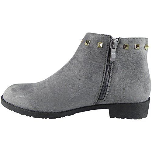 Saute Styles , Bottes Chelsea femme Grey Suede Studded