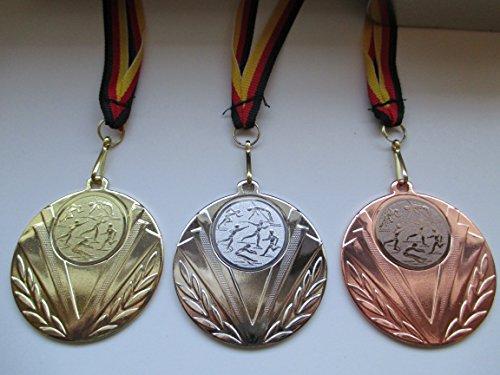 Medaillen Set - 50mm Stahl - Leichtathletik - Laufen - Speerwurf - Hochsprung - usw. - Gold, Silber, Bronze - Medaillenset - mit Emblem 25mm - Gold,Silber,Bronce - Deutschland-Band -
