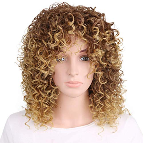 Kostüm Haar Perücke Afro - ATAYOU®Kurze Lockige Afro Verworrene Synthetische Haar Perücken für Afrikanische Schwarze Damen + 1 Perücke Kappe (Braun)