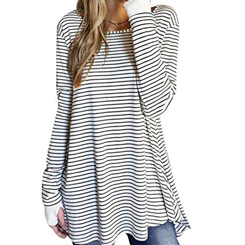 Damen Kleid Tshirt Übergröße - Juleya Langarm Casual Loose Shirt Kleider Gestreiftes Hemd Geteiltes Tops Tunika Pulloverkleid Asymmetrisch Weiß S M L XL (Streifen-polo-pullover)