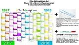 KiTa-Jahresplaner-Set 2017/2018: Hochwertiger großer Wandplaner 2017/2018 im Querformat 100 x 70 cm, beschreibbar + 2 Posterschienen + non-permanent-Stift