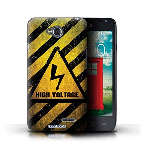 Kobalt® Imprimé Etui / Coque pour LG L65/D280 / Biohazard conception / Série Signes de Danger électricité