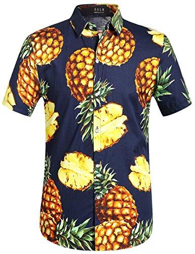 Ananas Aloha Shirt (SSLR Herren Ananas Button Down Hawaii Style Kurzarm Freizeit Hemd (Small, Navy))