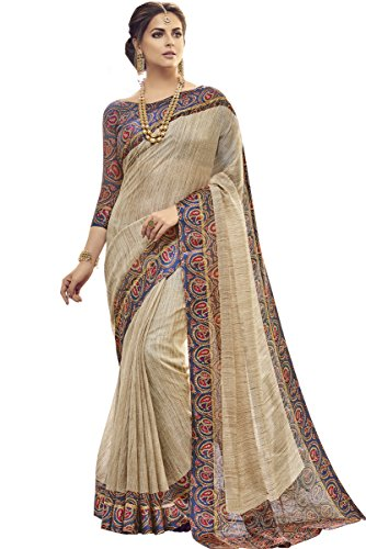 EthnicJunction Women's Kota Silk Geometric Print Saree With Blouse(Beige,EJ1174-2337)