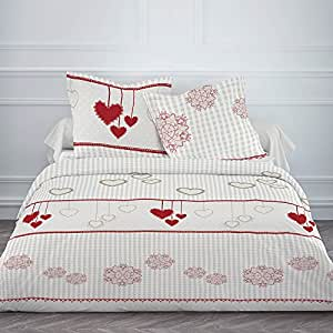 Housse de couette flanelle 220x240 2 taies winter heart for Amazon housse de couette