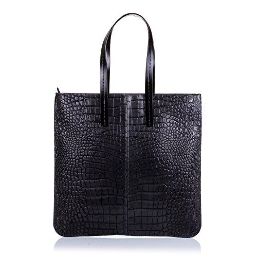 FIRENZE ARTEGIANI.Bolso Shopping Bag de Mujer Piel auténtica.Bolso Grande,Cuero Genuino Grabado...