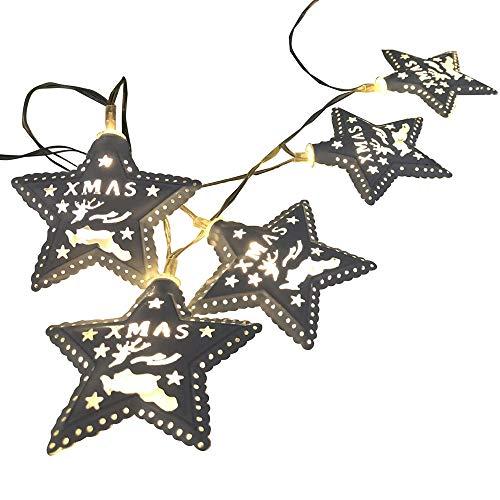 Togelei 1.5mx 10 LED Weihnachten Pentagram Warm White Christmas Fairy n Hochzeit Xmas Party Outdoor Decor Lampe Glühbirne für Valentinstag Party Garten Hochzeit Ferien Haus