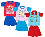 Indistar Kids Pure Cotton Baba Suit (T-Shirt and Bottom) (Pack of 3)- (Assorted Color/Print)-Red::Blue::Pink::Blue::Blue::Red-3.5 - 5 Years